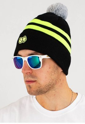 Czapka Zimowa Lucky Dice Winter Hat Basic 2 Stripes czarno neonowa