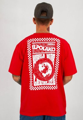 T-shirt El Polako World Wide czerwony