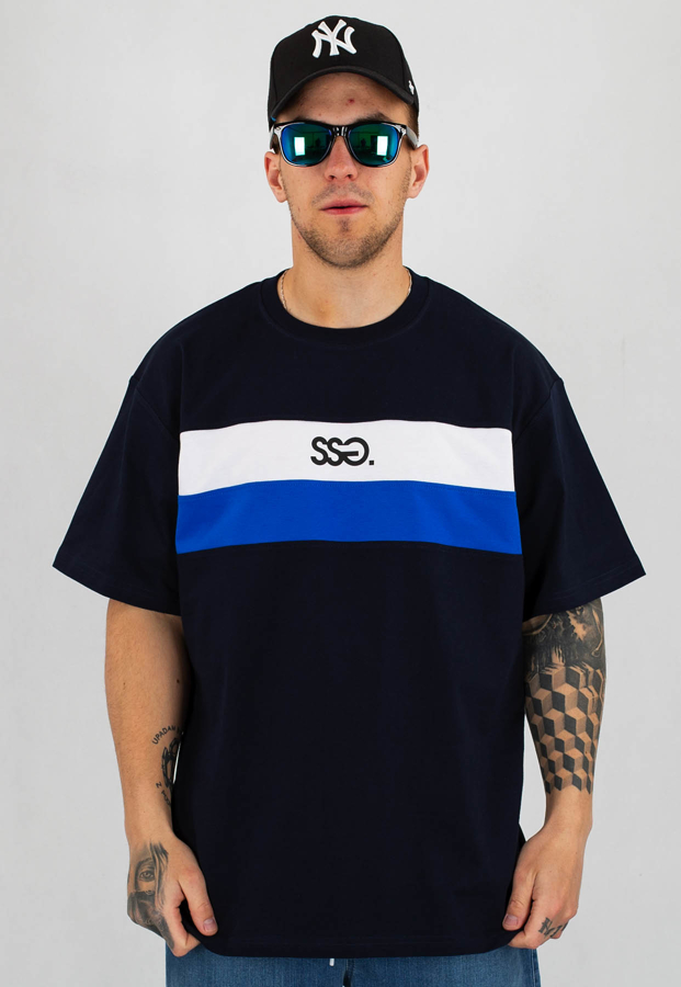 T-Shirt SSG Double Lines granatowy