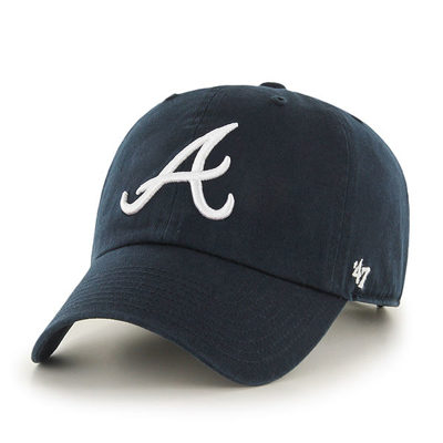 Czapka 47 Brand MLB Atlanta Braves '47 CLEAN UP granatowa
