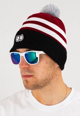 Czapka Zimowa Lucky Dice Winter Hat Basic 2 Stripes bordowo czarna
