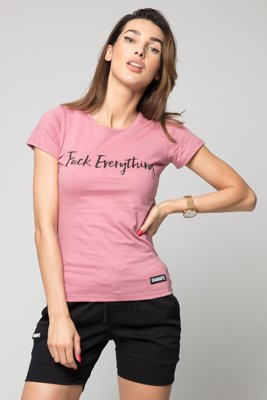 T-shirt Diamante Wear Fuck Everything ciemno brudny różowy