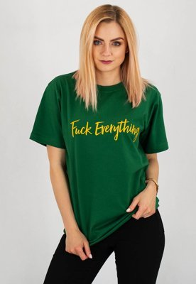 T-shirt Diamante Wear Fuck Everything zielony