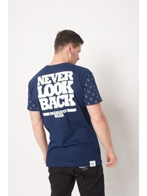 T-shirt Diamante Wear Never Look Back granatowy