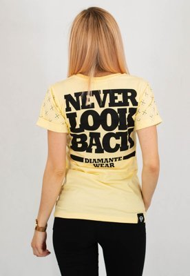 T-shirt Diamante Wear Never Look Back żółty