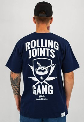 T-shirt Diamante Wear Rolling Joints Gang granatowy