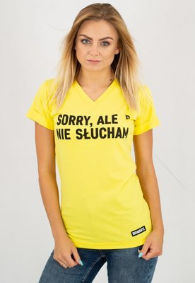 T-shirt Diamante Wear Sorry V-neck żółty
