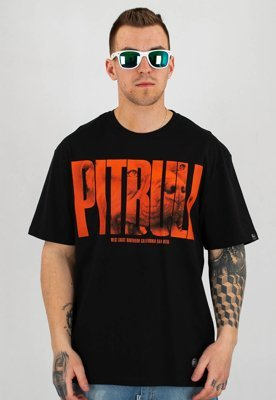 T-shirt Pit Bull Orange Dog czarny