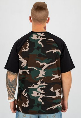 T-shirt Prima Sort Circle czarny woodland camo